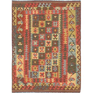Hereke Hand-Woven Red/Gold Area Rug