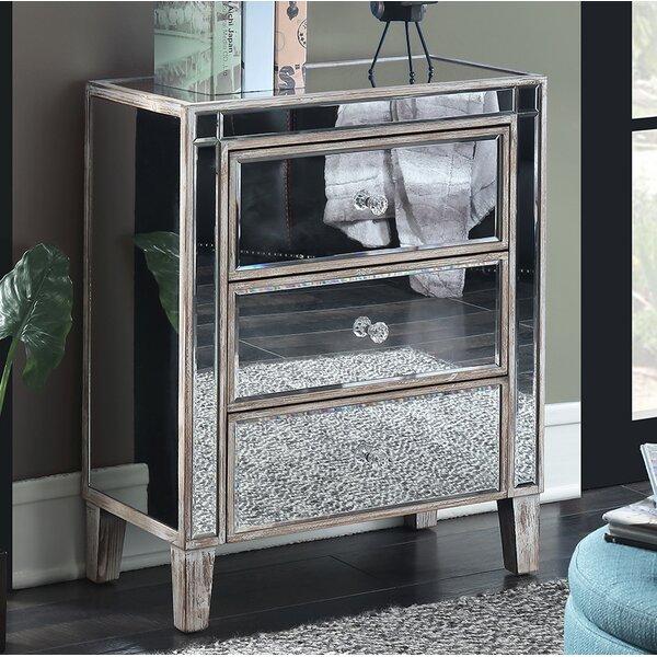 House Of Hampton Claybrooks 3 Drawer Mirrored End Table With Storage U0026  Reviews | Wayfair