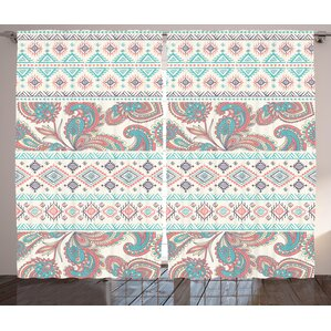 Davidson Tribal Paisley Semi Sheer Rod Pocket Curtain Panels (Set Of 2)