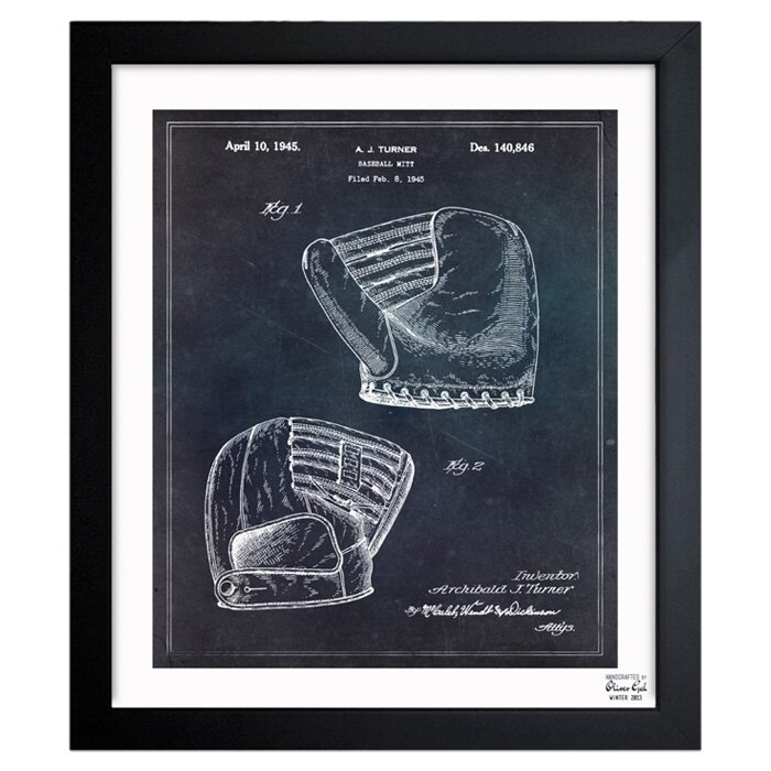 Baseball mitt 1945 framed painting print reviews allmodern for Best brand of paint for kitchen cabinets with framed wall art sale