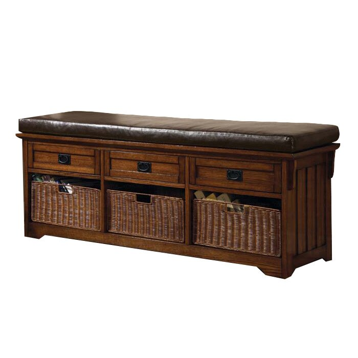 Wildon Home Upholstered Storage Bedroom Bench: Wildon Home ® Upland Wooden Storage Entryway Bench