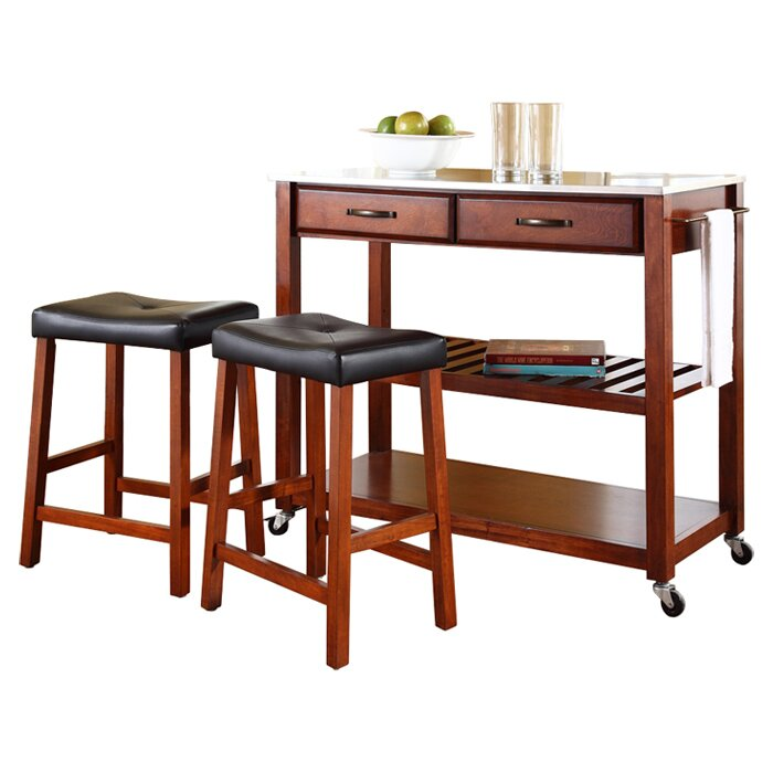 Kitchen island set with stainless steel top reviews for Kitchen all set