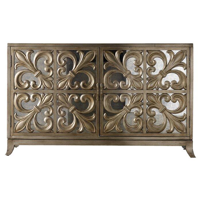 hooker furniture melange fleur de lis mirrored sideboard reviews wayfair. Black Bedroom Furniture Sets. Home Design Ideas