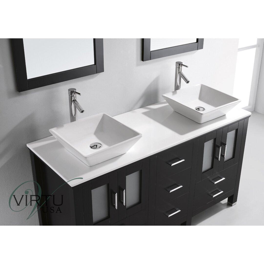 Double bathroom vanity - Bradford 60 Double Bathroom Vanity Set With White Stone Top And Mirror