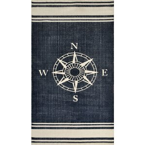 Hand Woven Navy/Off White Area Rug