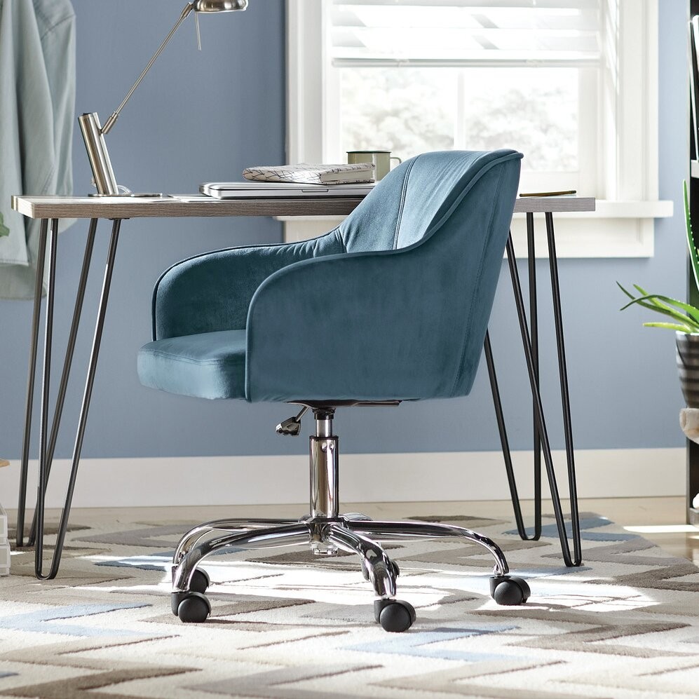 velvet desk chair - gallery image azccts