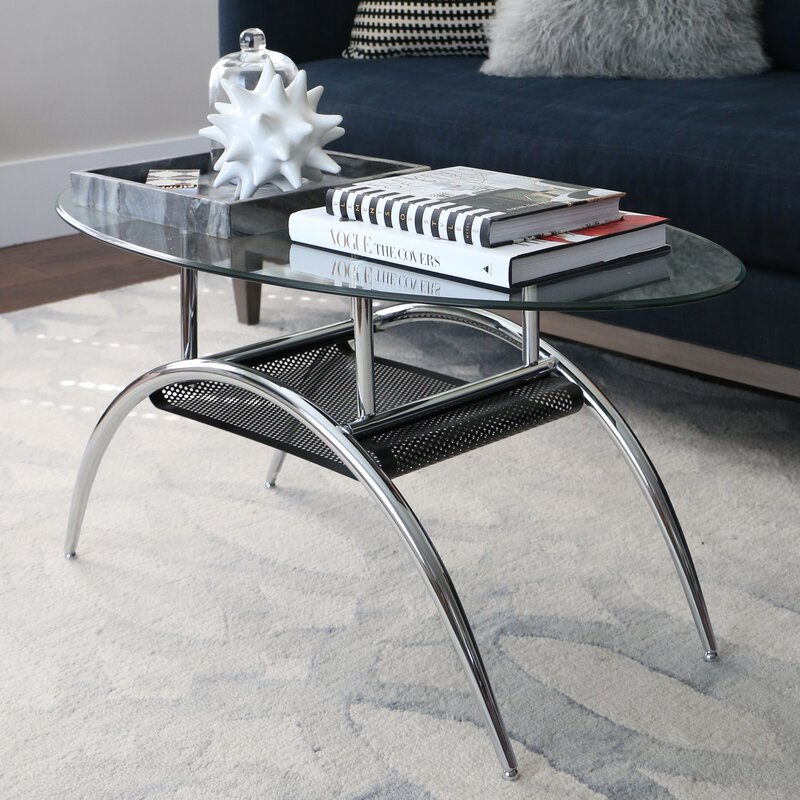 zipcode design yvette glass oval coffee table & reviews | wayfair