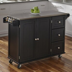 Terrell Kitchen Island With Stainless Steel Top