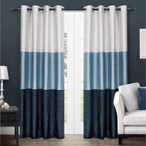 Newton Striped Semi Sheer Grommet Curtain Panels (Set Of 2)