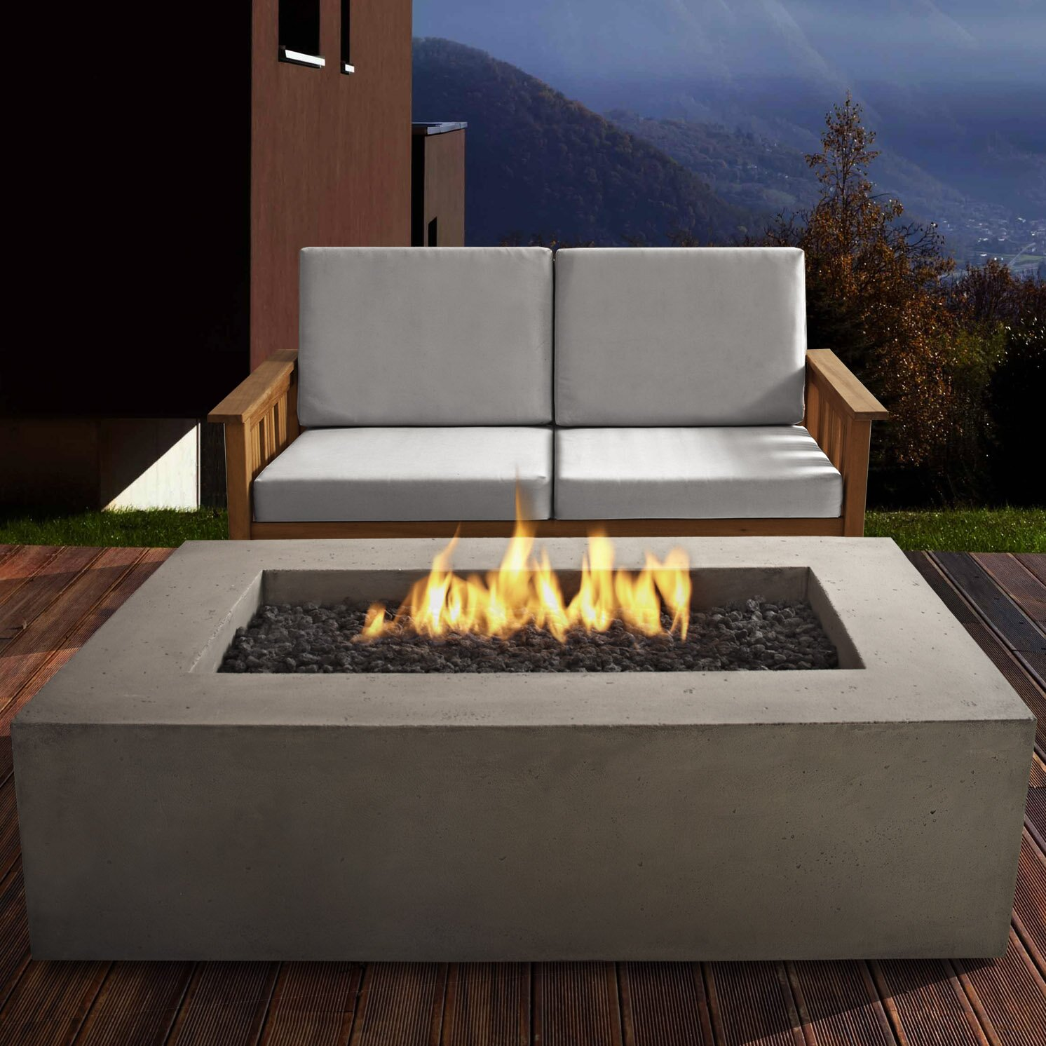 Propane fire pit on wood deck - Baltic Rectangle Propane Fire Pit Table