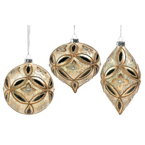 3 Piece Ornate Beaded Shaped Ornament Set