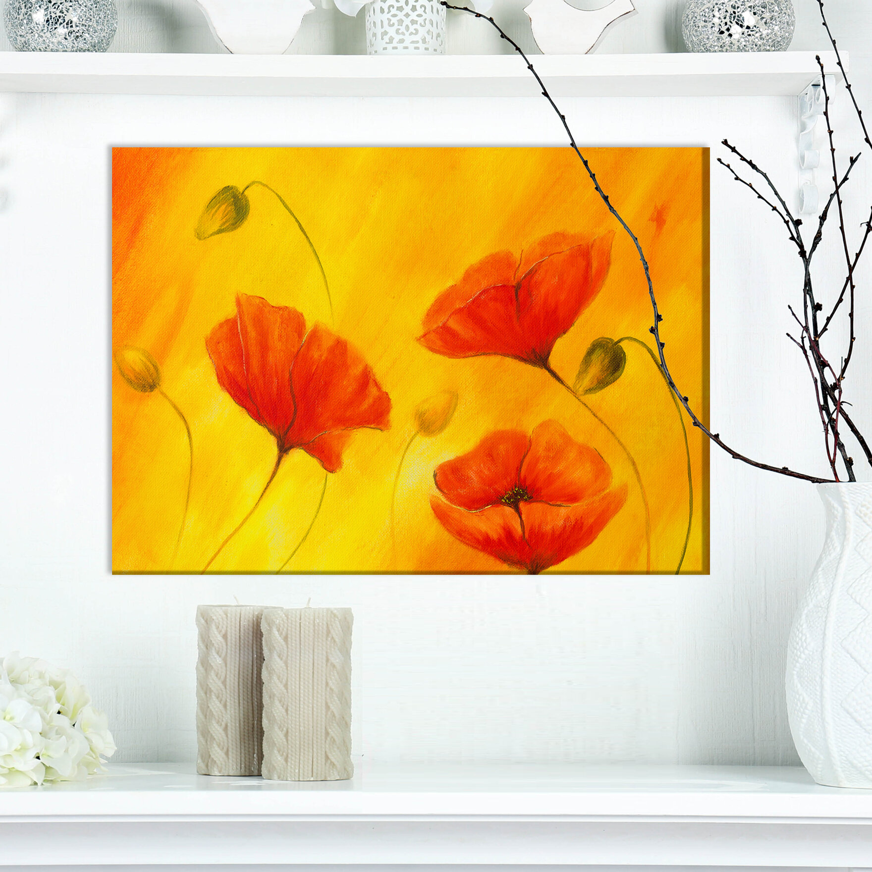 East urban home floral red poppy flower oil painting print on east urban home floral red poppy flower oil painting print on wrapped canvas wayfair mightylinksfo