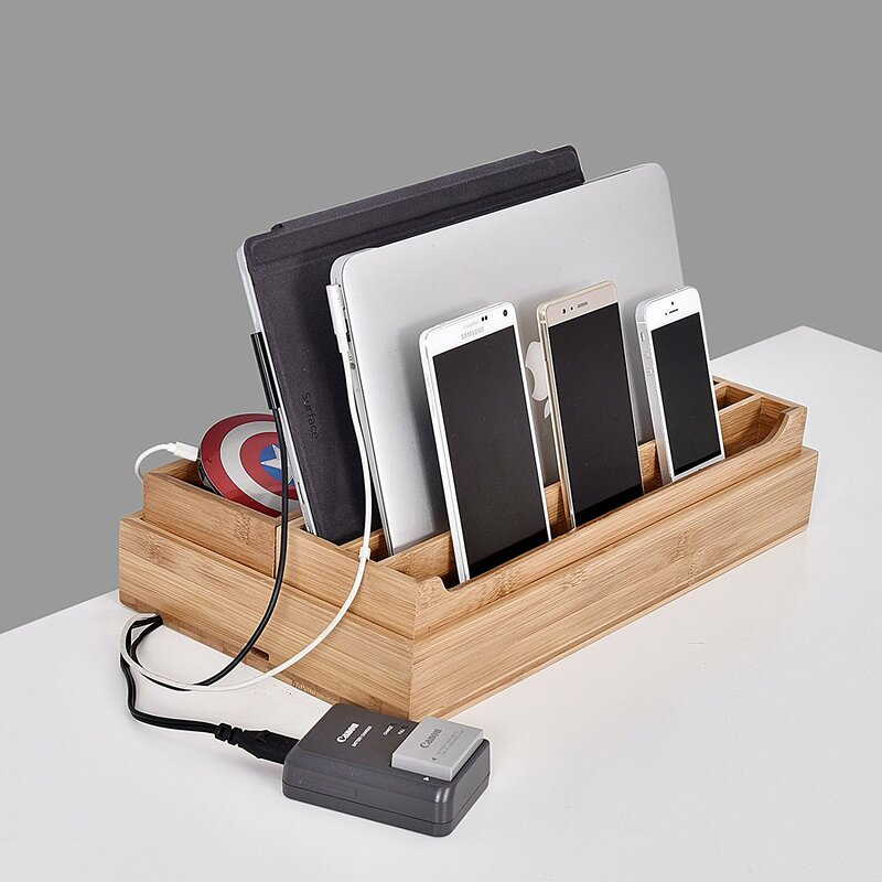 864cb6b0af8a 3 Piece Eco-Friendly Bamboo Multi Device Organizer Charging Station and  Dock Set