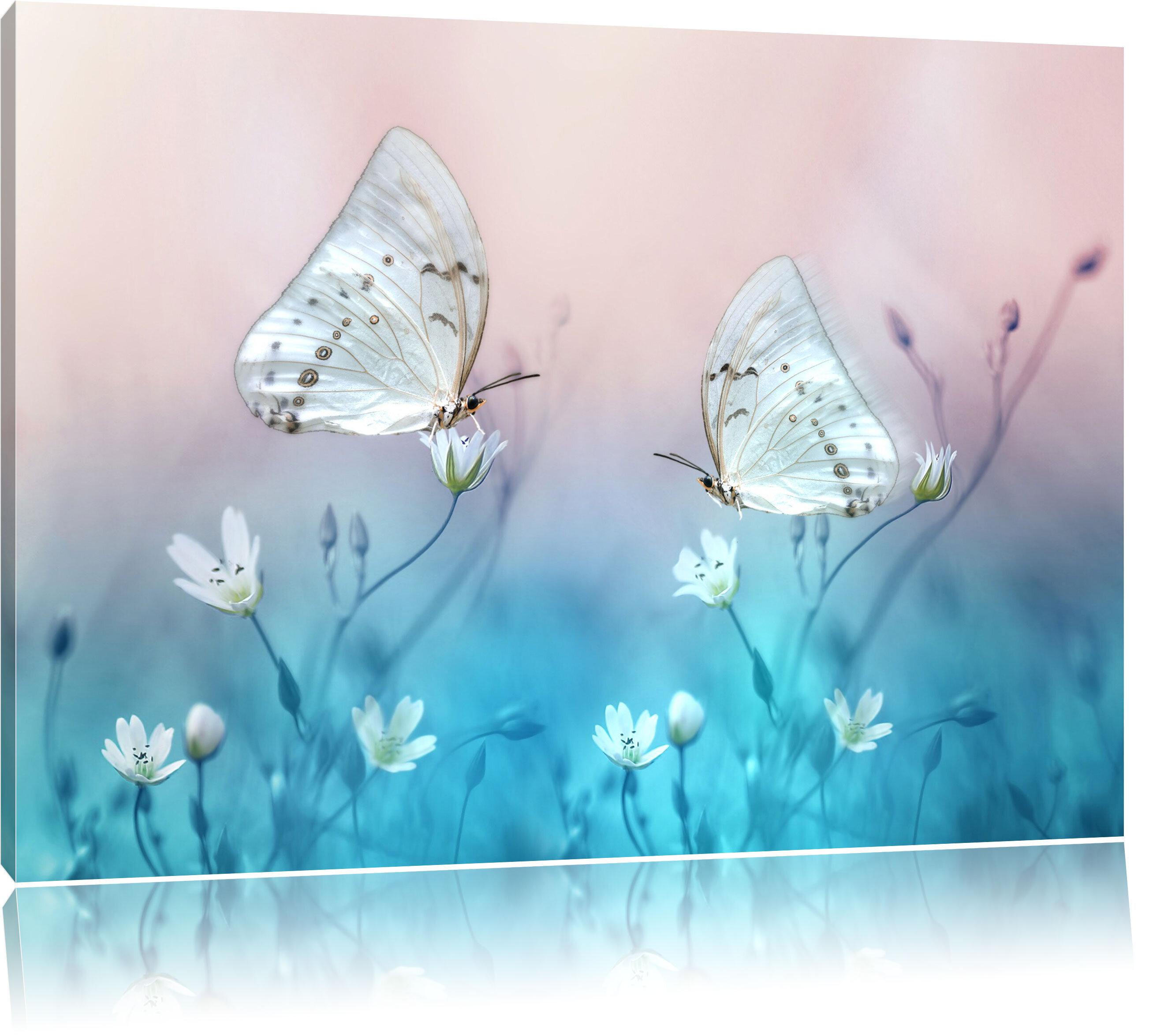 Home Loft Concept Leinwandbild Zwei schöne weiße Schmetterlinge auf ...