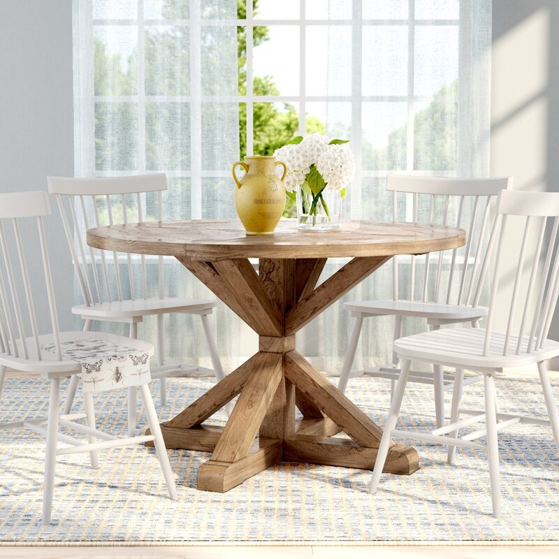 Peralta Round Rustic Solid Wood Dining Table Reviews Birch Lane