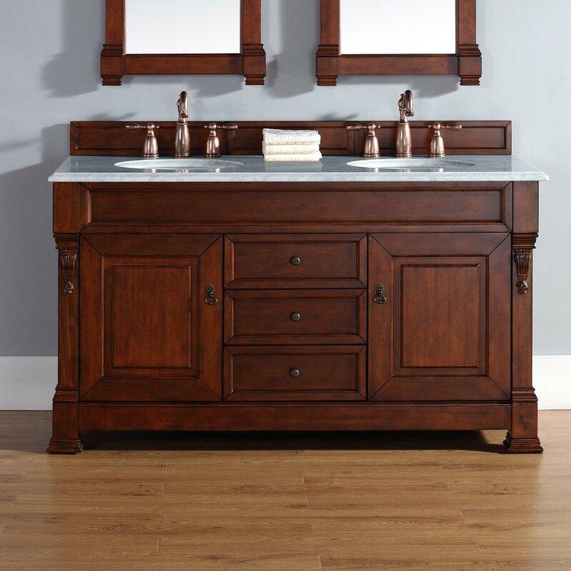 "Bedrock 60"" Double Warm Cherry Bathroom Vanity Set with Drawers"