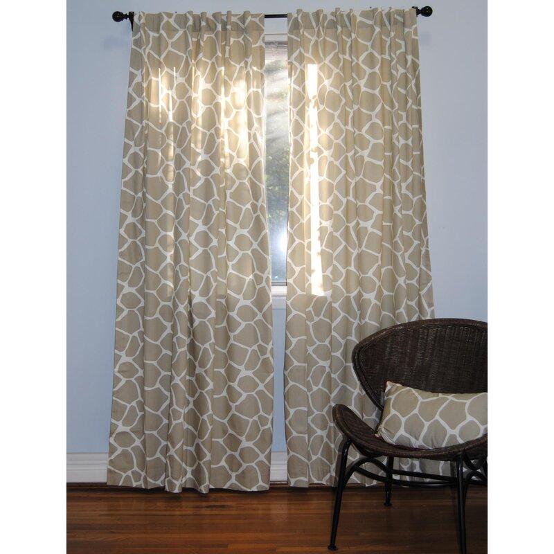 Ez living home giraffe animal print semi sheer tab top for Animal print window treatments