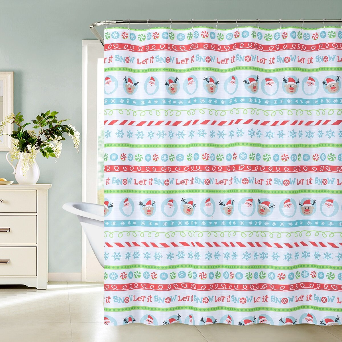 The Holiday Aisle Alina Christmas Elf Shower Curtain