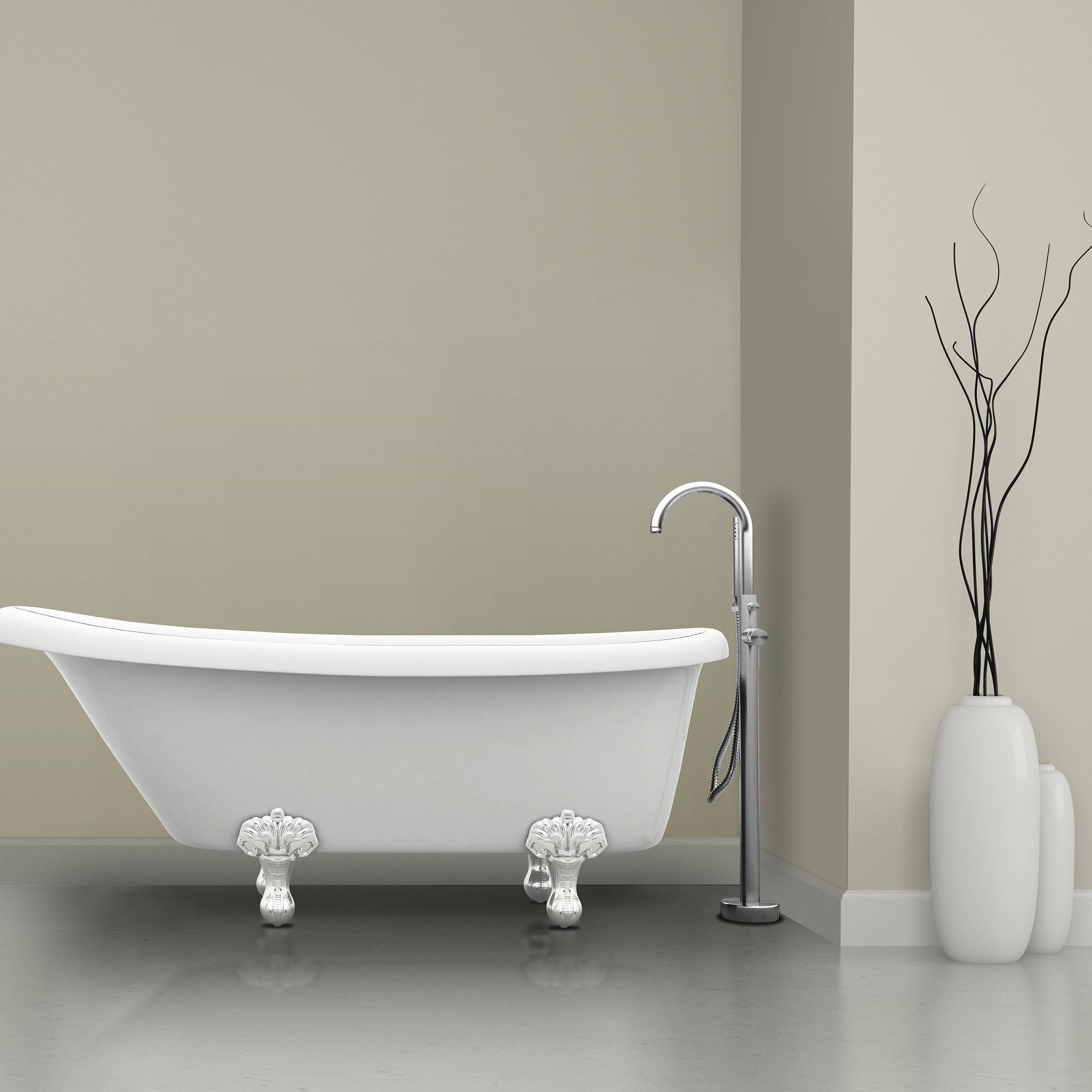 Ancona Prima Single Handle Floor Mount Bathtub Faucet with Shower ...