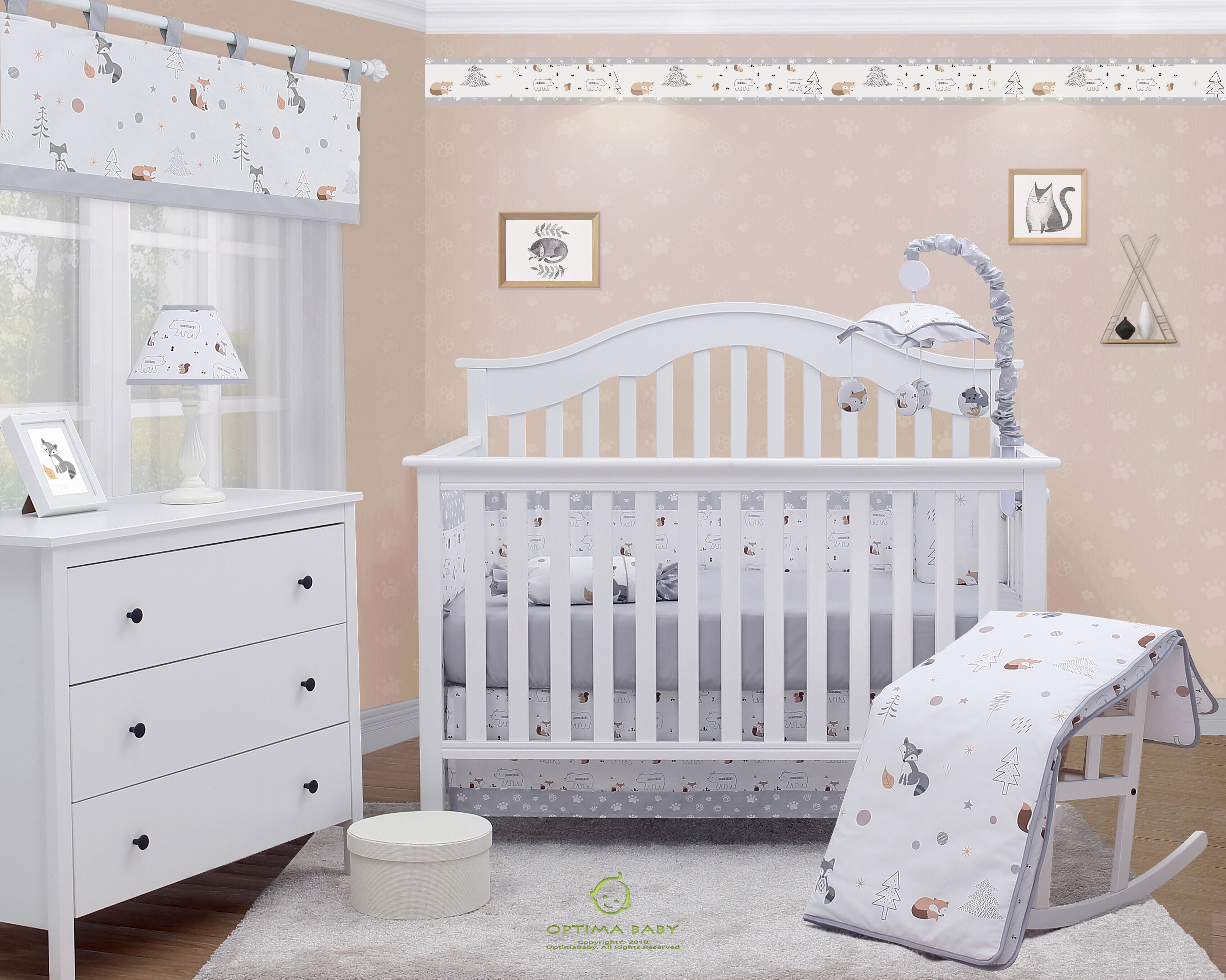 In Design; Crib Cotton Five Piece Kit Crib Bed Cotton Removable And Washable Childrens Bedding Package Novel