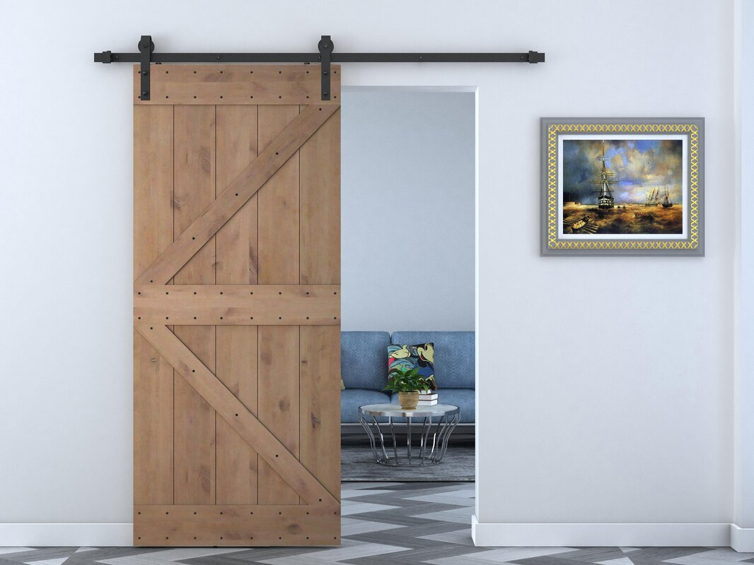 Calhome Knotty Solid Wood Panelled Alder Slab Interior Barn Door Reviews