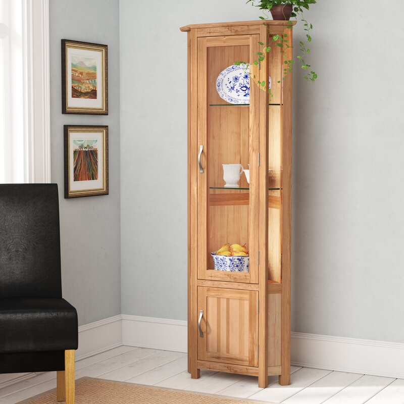 Homestead Living Marley Solid Oak Corner Display Cabinet & Reviews ...