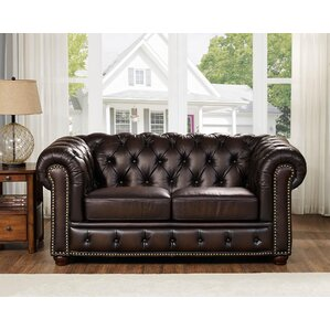 Katharine Top Grain Leather Loveseat by Fleur De Lis Living