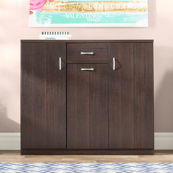 Willa Arlo Interiors Wood 30 Pair Shoe Storage Cabinet