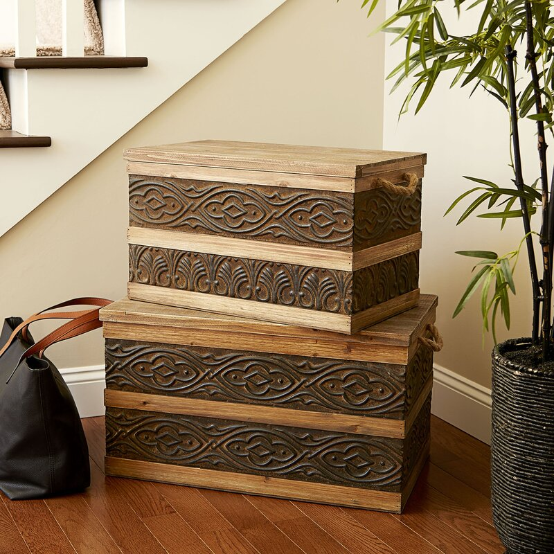 Household Essentials Small Metal Banded Wooden Storage