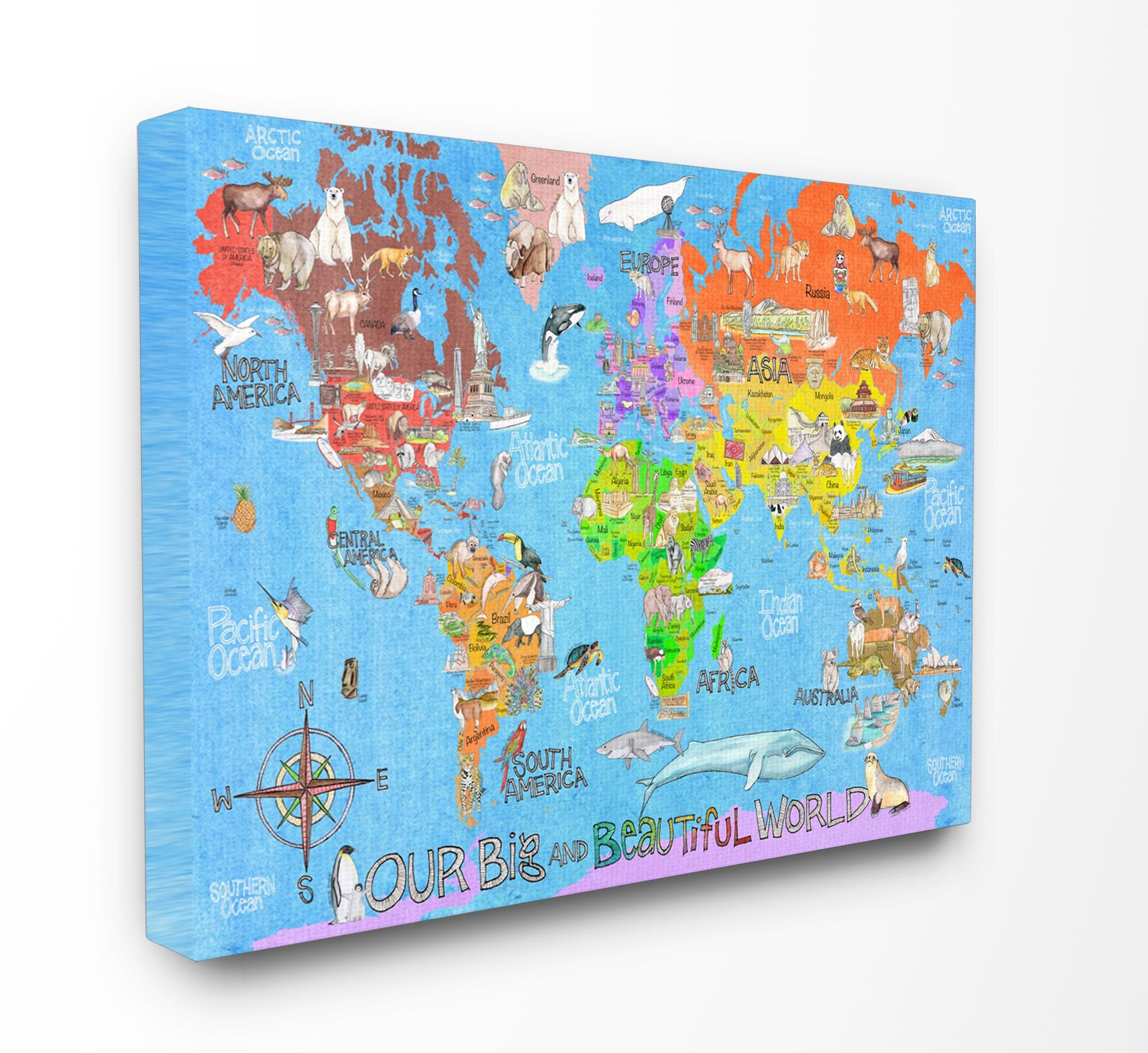Stupell Industries Our Big Beautiful World Map Canvas Art & Reviews on