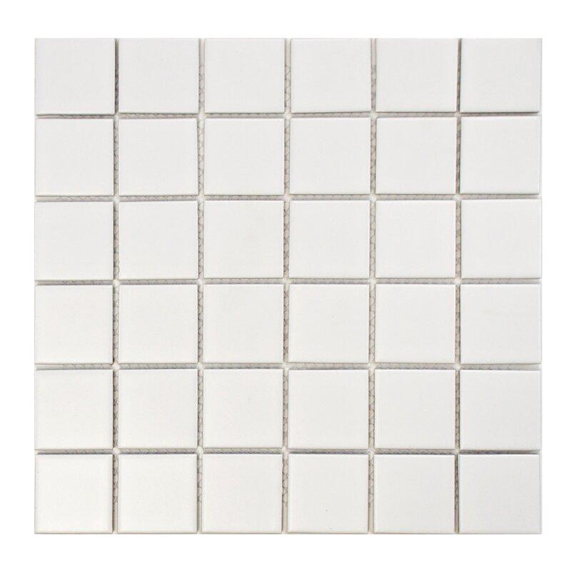 Retro Quad 2 X Porcelain Mosaic Tile In Matte White