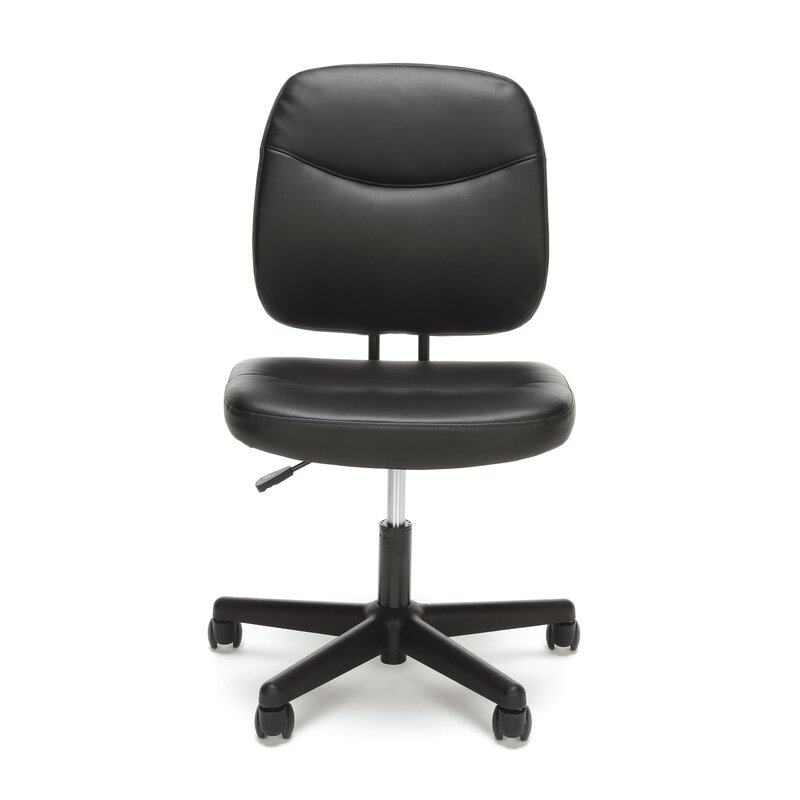 Armless Desk Leather Office Chair  sc 1 st  Wayfair & Symple Stuff Armless Desk Leather Office Chair u0026 Reviews | Wayfair