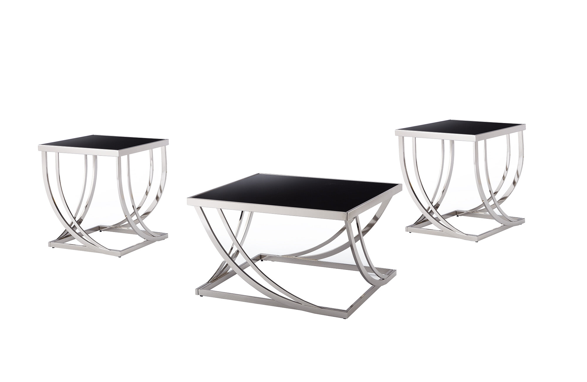 Wade Logan Lucio Arch Curved 3 Piece Coffee Table Set & Reviews