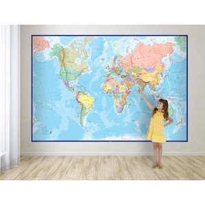 Giant World Map 62.2u0027 X 91.3
