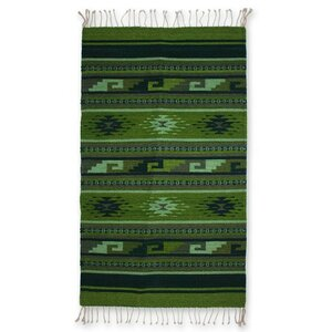 Zapotec Hand Woven Green Area Rug