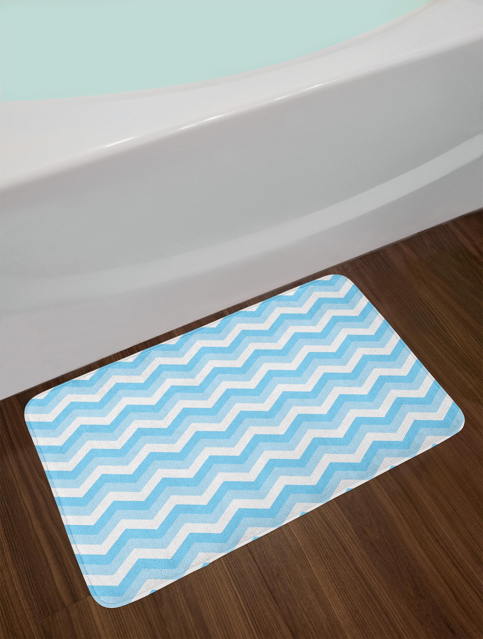 East Urban Home Baby Blue Pale White Zigzag Chevron Bath Rug Wayfair
