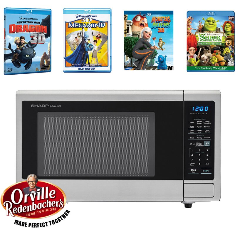 "Sharp Movie Night with Orville Redenbachers Certified 21"" 1.4 cu.ft. Countertop Microwave with 4 Blu-ray 3D Movies"