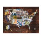 Trademark Fine Art 'USA License Plate Map on Wood' Graphic Art Print on Canvas