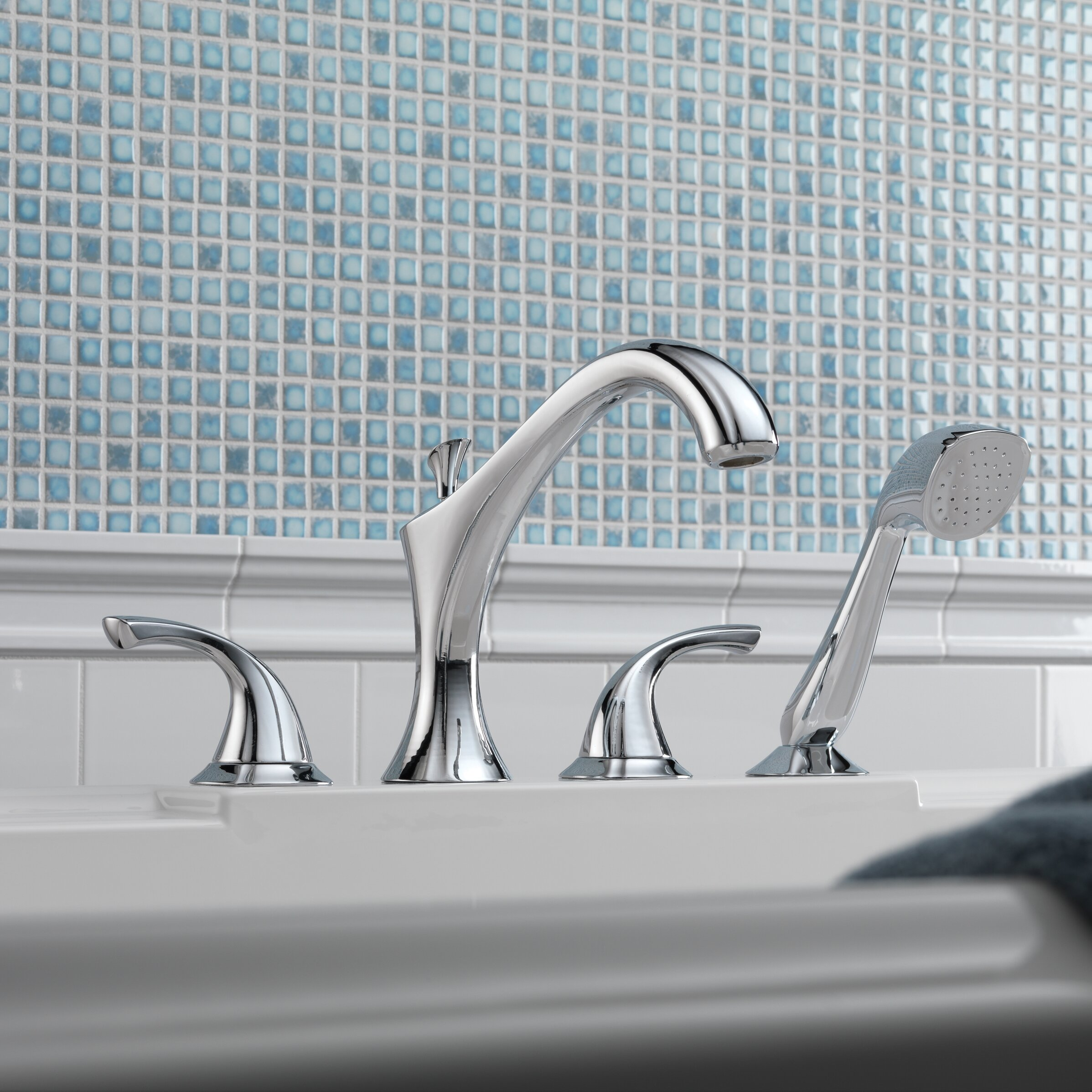 Delta Addison Roman Diverter Tub Faucet Shower Faucet Trim with Hand ...
