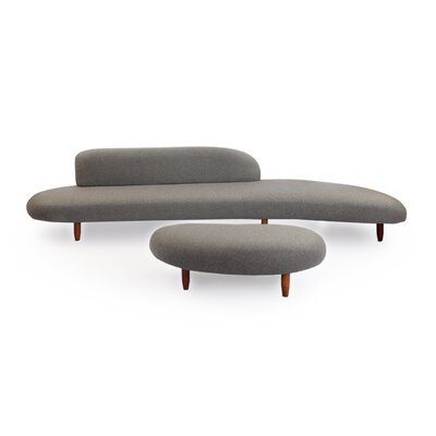 Brayden Studio Potvin Mid Century Modern Sofa and Ottoman Set Upholstery Color: Cadet Gray