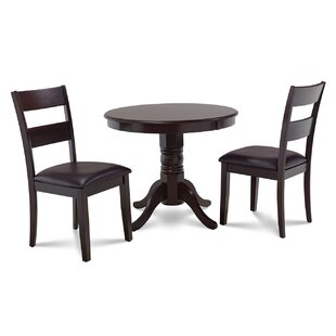 Cedarville 3 Piece Cappuccino Solid Wood Dining Set