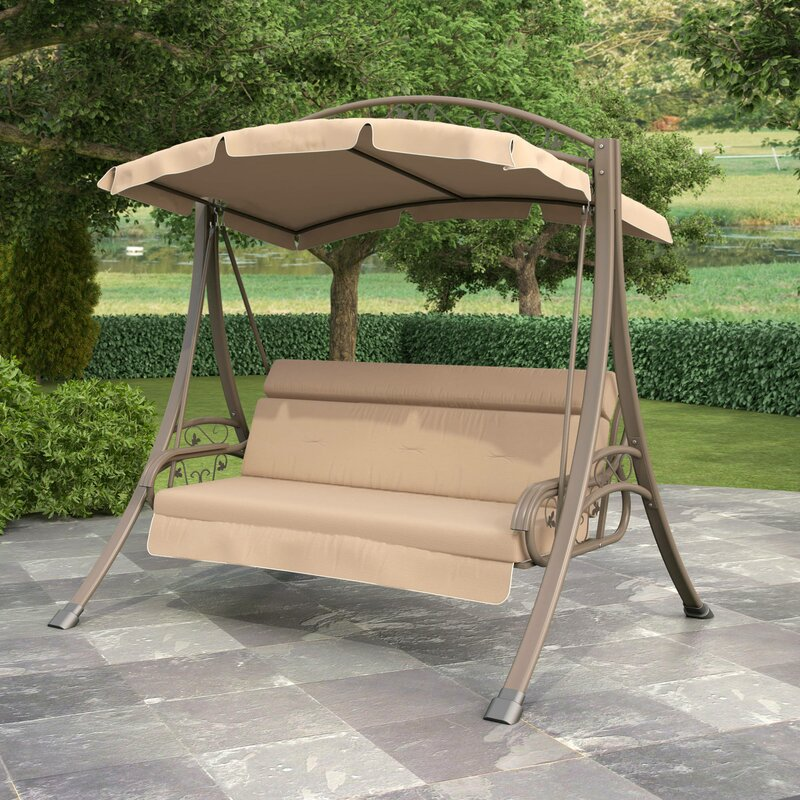 Portside Porch Swing with Arched Canopy & Red Barrel Studio Portside Porch Swing with Arched Canopy ...