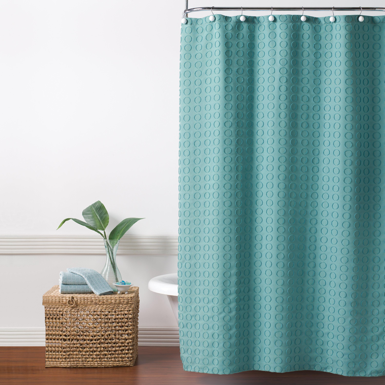 Ebern Designs Hertel Clipped Circle Fabric Shower Curtain