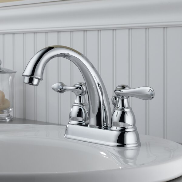 Delta windemere centerset double handle bathroom faucet for How to install a faucet in the bathroom