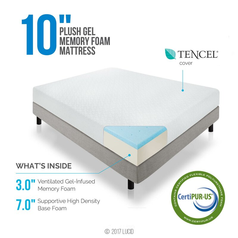 10 medium plush gel memory foam mattress - Memory Foam Mattress