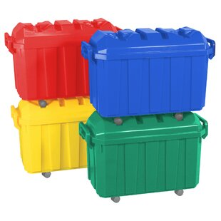 4 Pack Of 18 Gallon Stor N Roll Toy Trunks With Casters