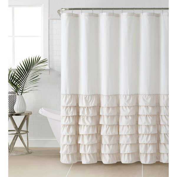 Linen Ruffle Shower Curtain | Wayfair