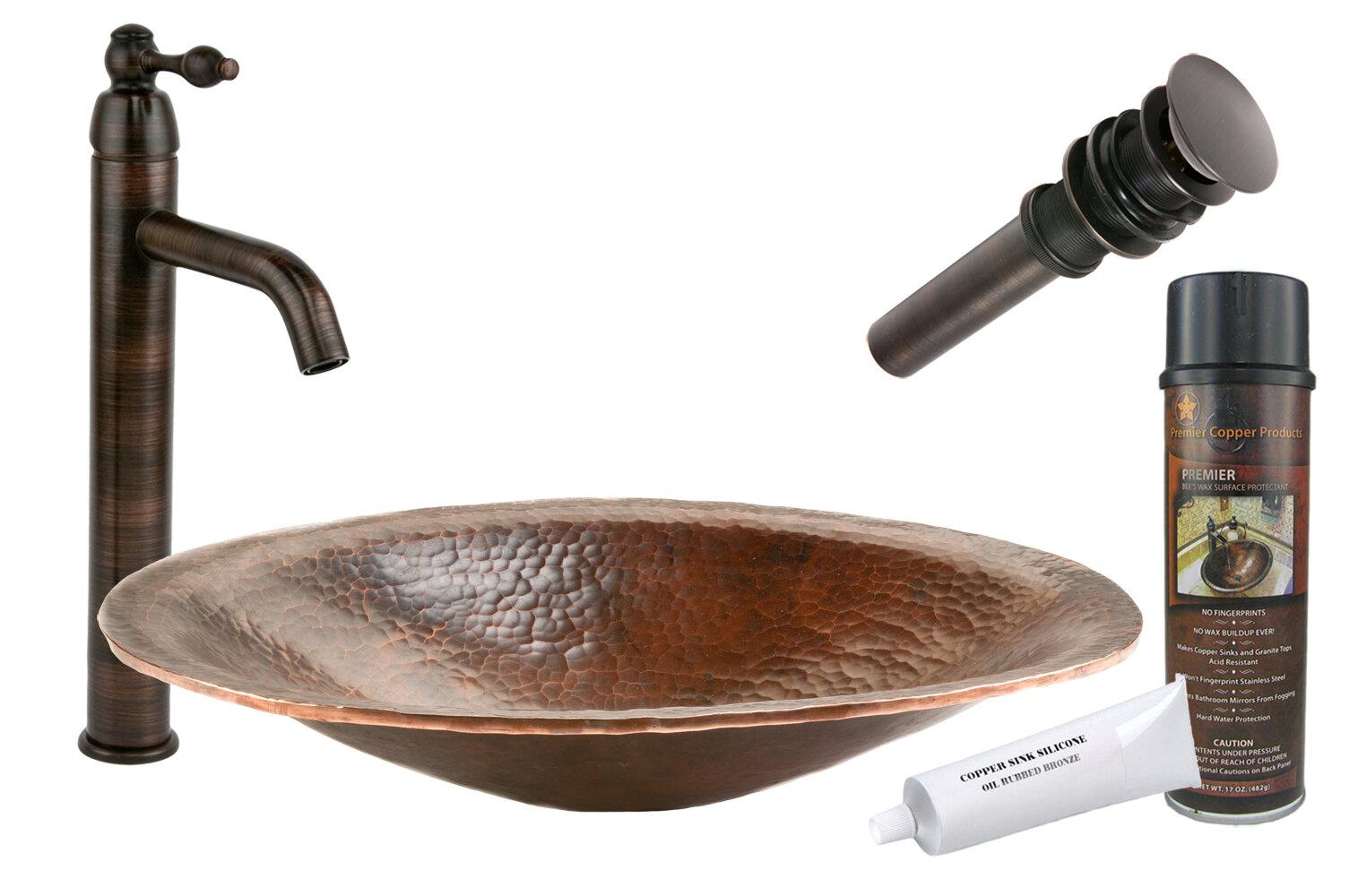 Premier Copper Products Old World Metal Oval Vessel Bathroom Sink ...