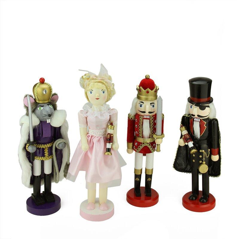 4 Piece Decorative Wooden Nutcracker Suite Ballet Christmas Decorations Set