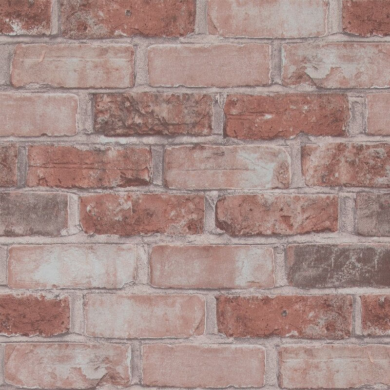 "32.97' x 20.8"" Faux Running Brick Wallpaper"